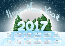 Calendar 2017. Happy New Year. Merry Christmas. Year of the Rooster. The symbol of the new year. Christmas vector illustration. De. Sign element. Christmas tree Royalty Free Stock Photo