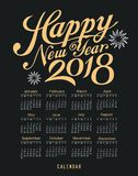 Calendar happy new year 2018 message black and gold Stock Photos