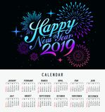 Calendar happy new year 2019 message firework colorful design vector illustration
