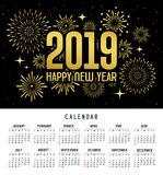 Calendar happy new year 2019 message firework gold and black template stock illustration