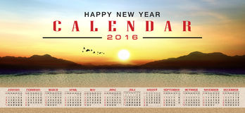 Calendar 2016 and happy new year. Calendar 2016  with nature view background Royalty Free Stock Photo