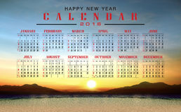 Calendar 2016 and happy new year. Calendar 2016  with nature view background Stock Photos