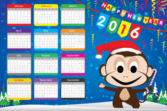 Calendar Happy New Year 2016 Party Card and Monkey on blue background. Blue snow in winter on sky Royalty Free Stock Photography