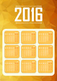 Calendar for 2016. Happy New Year. Polygonal background. Vector Royalty Free Stock Photo