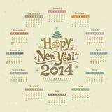 Calendar happy new year text design Stock Photography