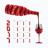 2017 Calendar happy new year vector design. Abstract ribbon wine. Bottle and glass shape concept Stock Image