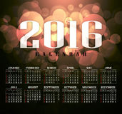 Calendar 2016 and happy new year. Calendar 2016 vintage and bokeh , motion Blur background Royalty Free Stock Photos