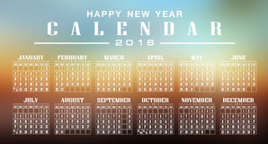 Calendar 2016 and happy new year. Calendar 2016 vintage and motion Blur background stock illustration