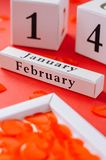 Calendar Happy Valentine`s Day on a red background stock image