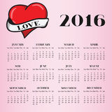 Calendar 2016 with heart on pink background. Vector illustration EPS 10 Royalty Free Stock Photo