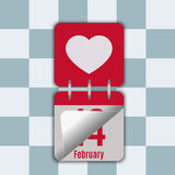 Calendar with a heart. Vector illustration of calendar with a heart. Page changes for February 14. Happy Valentine`s Day Stock Photos