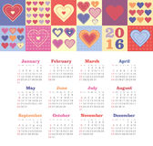 Calendar for 2016 with heart. Royalty Free Stock Photography