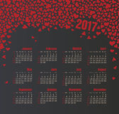 Calendar 2017 with heart. Week Starts Sunday Royalty Free Stock Images