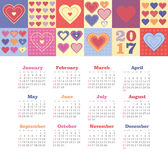 Calendar 2017 with heart. Week Starts Sunday Royalty Free Stock Photos