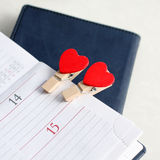 Calendar and hearts Stock Photography