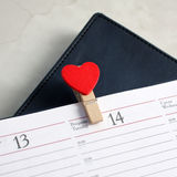 Calendar and hearts Royalty Free Stock Photography