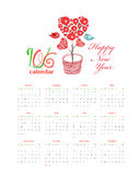 Calendar 2016 with hearts tree and birds.  vector illustration