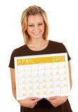 2015 Calendar: Holding Blank April Calendar Royalty Free Stock Photos
