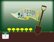 Happy Arbor Day. Calendar holiday of April - Happy Arbor Day. Poster stock illustration