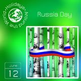 Series calendar. Holidays Around the World. Event of each day of the year. Russia Day. Official Russian holiday. 12 june. Trunks o. Calendar. Holidays Around the stock illustration