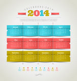 Calendar of 2014 with holidays icons Royalty Free Stock Photo