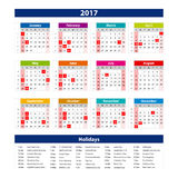 2017 Calendar holidays USA - illustration Vector template of color 2017 calendar. Art Royalty Free Illustration