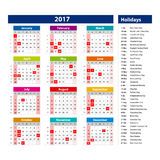 2017 Calendar holidays USA - illustration Vector template of color 2017 calendar Stock Photos