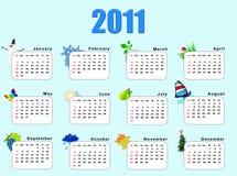 Calendar_horizantal 2011  - seasons. Every month a calendar has a symbol of a season Royalty Free Stock Photography