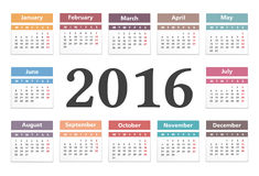 2016 Calendar. Horizontal calendar with number 2016 in the center Stock Photo