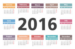 2016 Calendar. Horizontal calendar with number 2016 in the center Stock Image