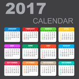2017 Calendar in horizontal style. Illustration Vector template of color 2017 calendar on black background royalty free illustration
