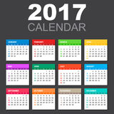 2017 Calendar in horizontal style. Illustration Vector template of color 2017 calendar on black background stock illustration