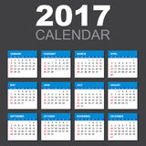 2017 Calendar in horizontal style. Illustration Vector template of color 2017 calendar on black background vector illustration