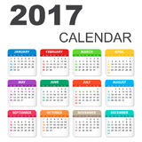 2017 Calendar in horizontal style. Illustration Vector template of color 2017 calendar on white background stock illustration