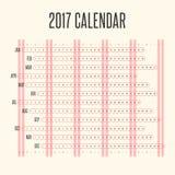 Calendar 2017 in Horizontal Vintage Design. Vector Design Print Template Stock Photo