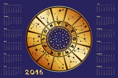 Calendar 2016.Horoscope circle.Zodiac sign. 2016 new year Calendar.Horoscope Circle with Zodiac sign.Constellation,stars ,astrology symbols.Blue  background,gold Royalty Free Stock Images