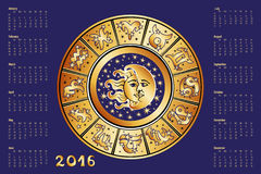 Calendar 2016.Horoscope circle, Zodiac sign. 2016 new year Calendar.Horoscope Circle with Zodiac sign.Constellation,stars and astrology symbols,moon and sun.Blue Stock Photos