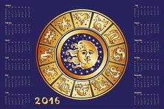Calendar 2016.Horoscope circle, Zodiac sign Stock Photos