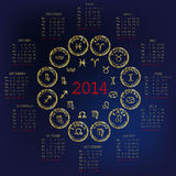 2014 Calendar with horoscope. Signs stock illustration