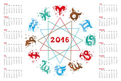 Calendar 2016.Horoscope  Zodiac sign Stock Photography