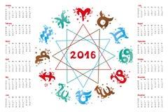 Calendar 2016.Horoscope  Zodiac sign Stock Photography