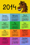 Calendar 2014 with horse. And comic handmade font Stock Photography