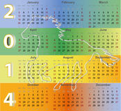 Calendar 2014 with Horse silhouette symbol. Of New Year Holiday Royalty Free Stock Photos