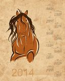 Calendar 2014, horse sketch on grunge paper Stock Photos