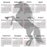 Calendar 2014 horse. On a white background Stock Photos