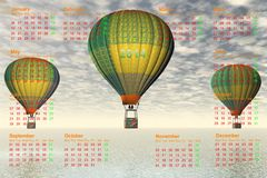 Calendar 2014. And hot-air balloon Royalty Free Stock Photography
