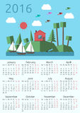 Calendar 2016, house, landscape. 2016 year calendar with house, sun, forest landscape on islands, sailing-boats, birds and fish. Week starts on Monday. Flat Stock Photo