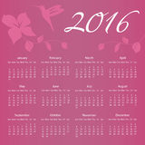 2016 Calendar with Hummingbird and flower with Royalty Free Stock Photography