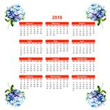 2018 calendar with Hydrangea flowers. Watercolor illustration Stock Photos