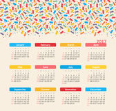 Calendar 2017 with ice cream. Week Starts Sunday Royalty Free Stock Photography